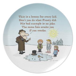 Frosty's Bad Example - Funny Christmas Cartoon Dinner Plates