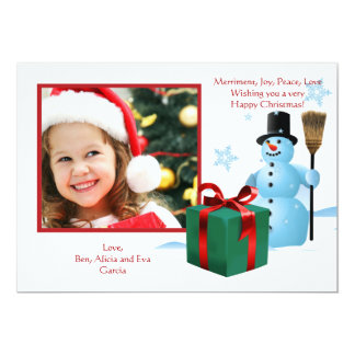 "Frosty's Present Photo Holiday Card 5"" X 7"" Invitation Card"
