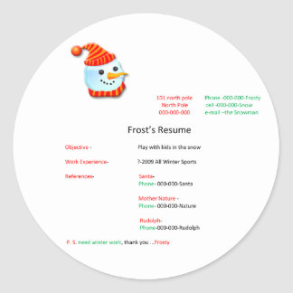 frostys resume christmas sticker