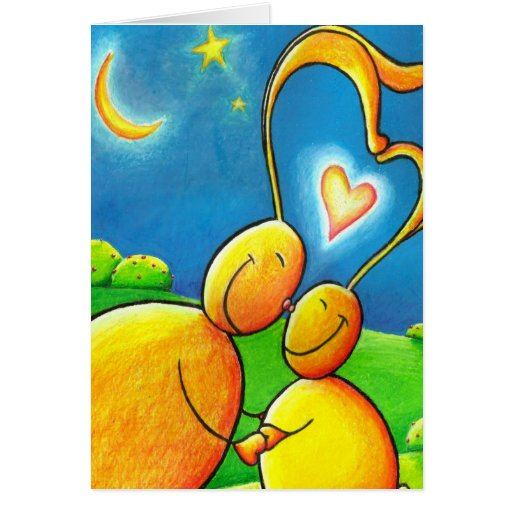 Frotación de la nariz del amor del conejito tarjeta de felicitación