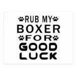Frote a mi boxeador para la buena suerte postal