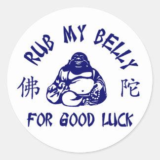 Frote mi Belly de Buda para la buena suerte Pegatina Redonda