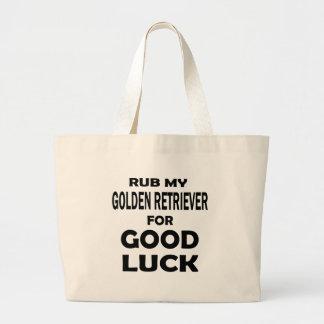 Frote mi golden retriever para la buena suerte bolsa tela grande