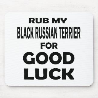 Frote mi ruso negro Terrier para la buena suerte Mouse Pads