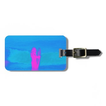 Beach Themed Frothing Neon Luggage Tag