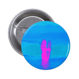 Frothing Neon Pinback Button