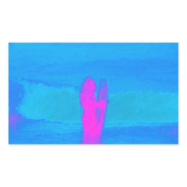 Beach Themed Frothing Neon Rectangular Sticker