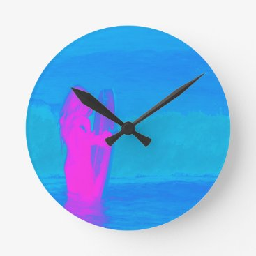 Beach Themed Frothing Neon Round Clock