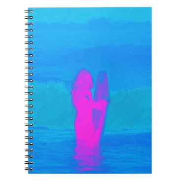 Beach Themed Frothing Neon Spiral Notebook