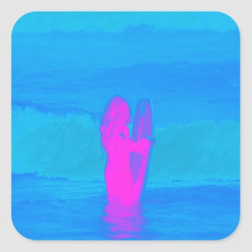 Beach Themed Frothing Neon Square Sticker