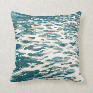 Frothing Wake Ocean Wave Blue & Grey Pillow