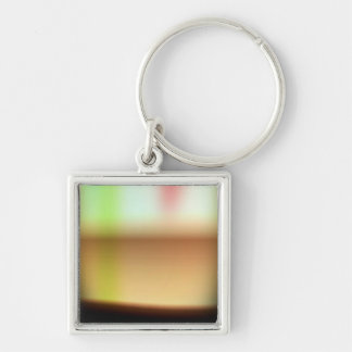 Frothy Cappuccino Coffee Abstract Silver-Colored Square Keychain
