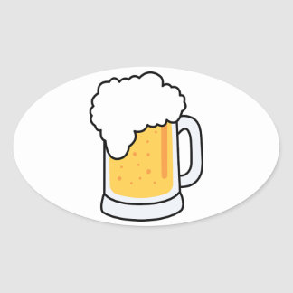 Frothy Cartoon Glass Beer Mug with Beer Oval Sticker