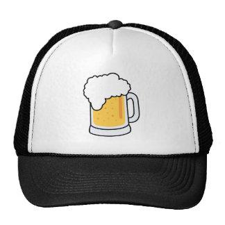 Frothy Cartoon Glass Beer Mug with Beer Trucker Hat