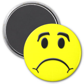 Frown 3 Inch Round Magnet