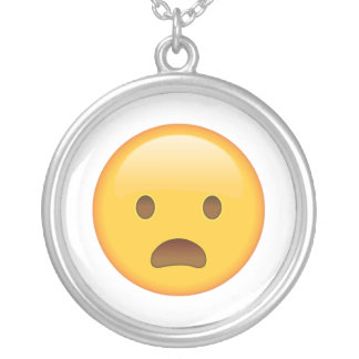 Frowning Face with Open Mouth - Emoji Silver Plated Necklace
