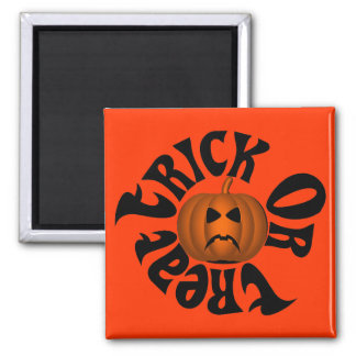 Frowning Jack O Lantern Trick Or Treat Black Text Magnet