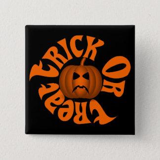 Frowning Jack O Lantern Trick Or Treat Orange Text Pinback Button