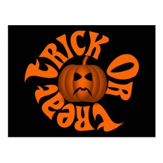 Frowning Jack O Lantern Trick Or Treat Orange Text Postcard