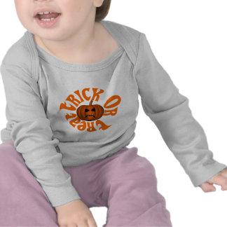 Frowning Jack O Lantern Trick Or Treat Orange Text Tee Shirts