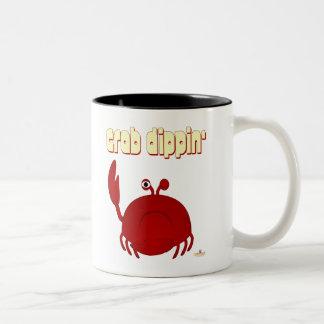 Frowning Red Crab Crab Dippin' Two-Tone Coffee Mug
