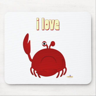 Frowning Red Crab I Love Mouse Pad
