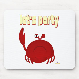 Frowning Red Crab Let's Party Mouse Mats