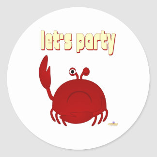 Frowning Red Crab Let's Party Round Stickers