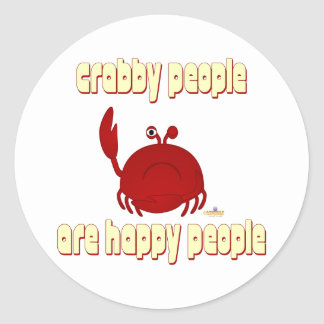 Frowning Red Crab   People Are Happy People Round Sticker