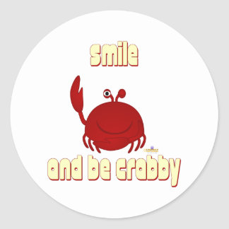 Frowning Red Crab Smile And Be   Round Stickers
