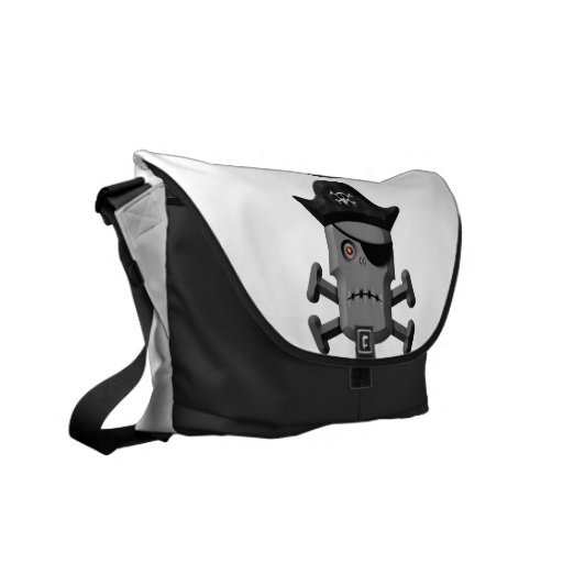 Frowning Robot Pirate Jolly Roger Courier Bags