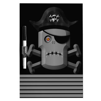 Frowning Robot Pirate Jolly Roger Dry-Erase Board