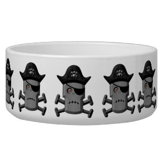 Frowning Robot Pirate Jolly Roger Pet Food Bowls