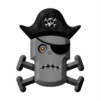 Frowning Robot Pirate Jolly Roger Acrylic Cut Outs