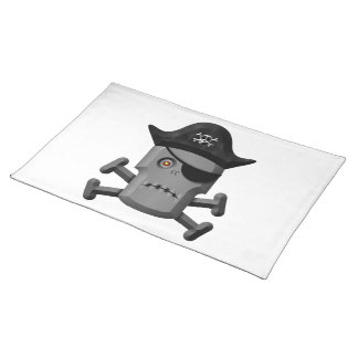 Frowning Robot Pirate Jolly Roger Place Mat