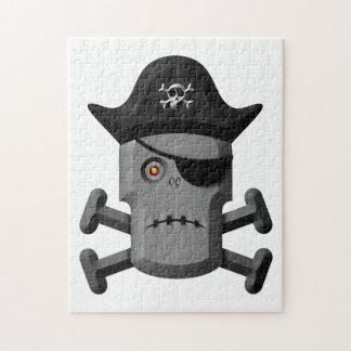 Frowning Robot Pirate Jolly Roger Jigsaw Puzzles