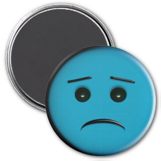 Frowny Face2 - Blue 3 Inch Round Magnet