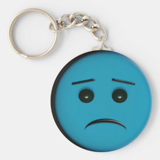 Frowny Face 2 - Blue Basic Round Button Keychain