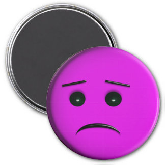 Frowny Face Purple 3 Inch Round Magnet