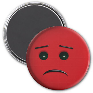 Frowny Face red 3 Inch Round Magnet
