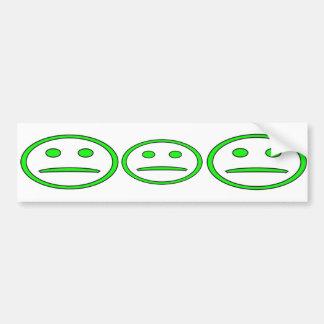 Frowny verde y negro hace frente pegatina de parachoque