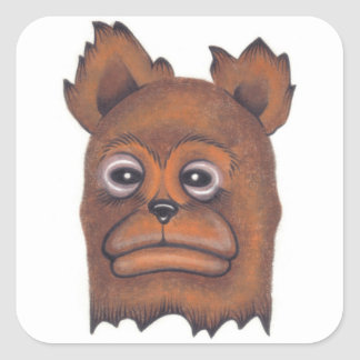 Frownybear Pegatina Cuadrada
