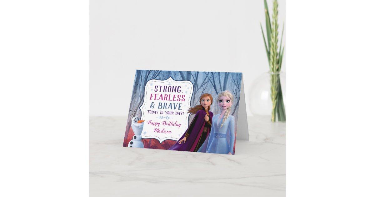 Admirable Frozen 2 Anna Elsa Olaf Birthday Girl Card Zazzle Com Birthday Cards Printable Benkemecafe Filternl
