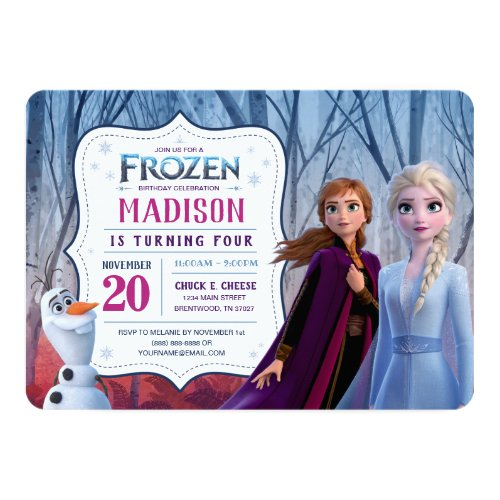 Frozen 2 _ Anna Elsa  Olaf Birthday Party Invitation