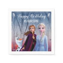 Frozen 2 - Anna, Elsa & Olaf Birthday Party Napkin