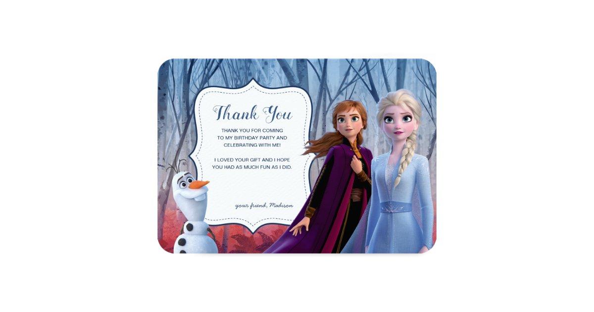 Frozen 2 Anna Elsa Olaf Birthday Thank You Invitation Zazzle