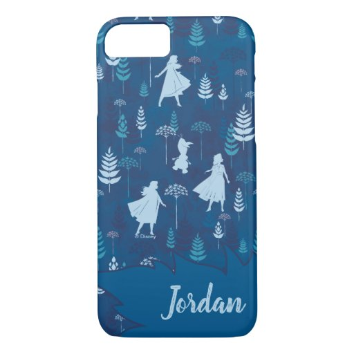 Frozen 2: Anna, Elsa, & Olaf Blue Foliage Pattern iPhone 8/7 Case