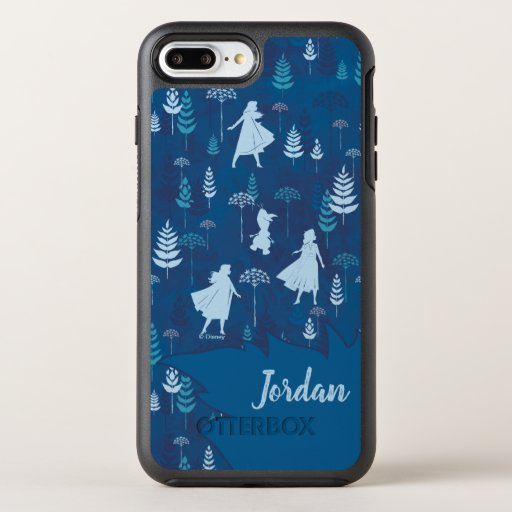 Frozen 2: Anna, Elsa, & Olaf Blue Foliage Pattern OtterBox Symmetry iPhone 8 Plus/7 Plus Case
