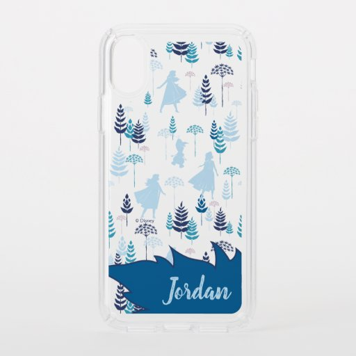 Frozen 2: Anna, Elsa, & Olaf Blue Foliage Pattern Speck iPhone XS Case