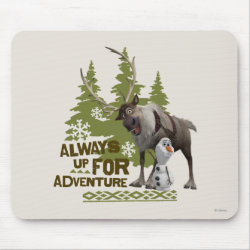 Mousepad with Sven & Olaf - Always Up for Adventure design